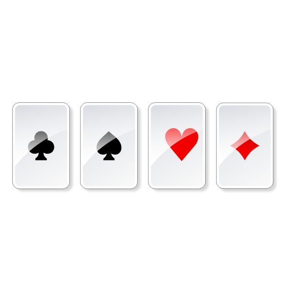 Vector graphics of set of glossy gambling cards
