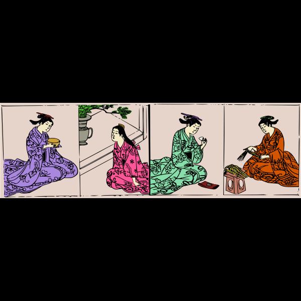 Asian ladies in colorful kimonos