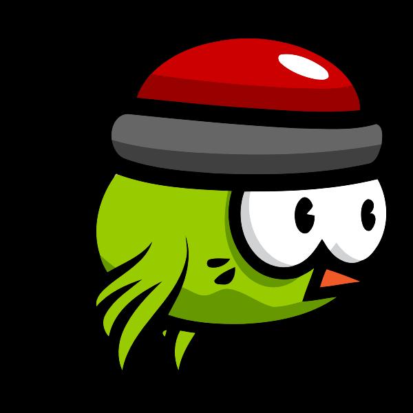 Flying green bird