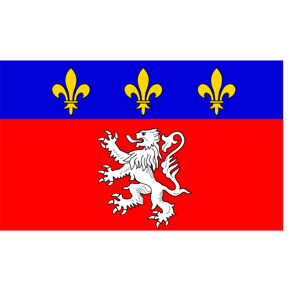 Lyonnais region flag vector illustration