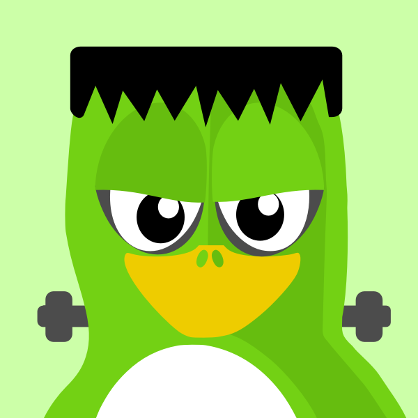 Penguin in green outfit