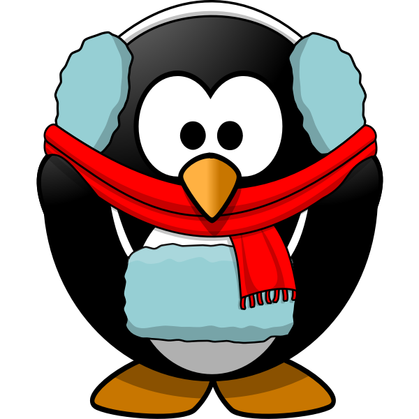 Vector graphics of penguin in winter clothes