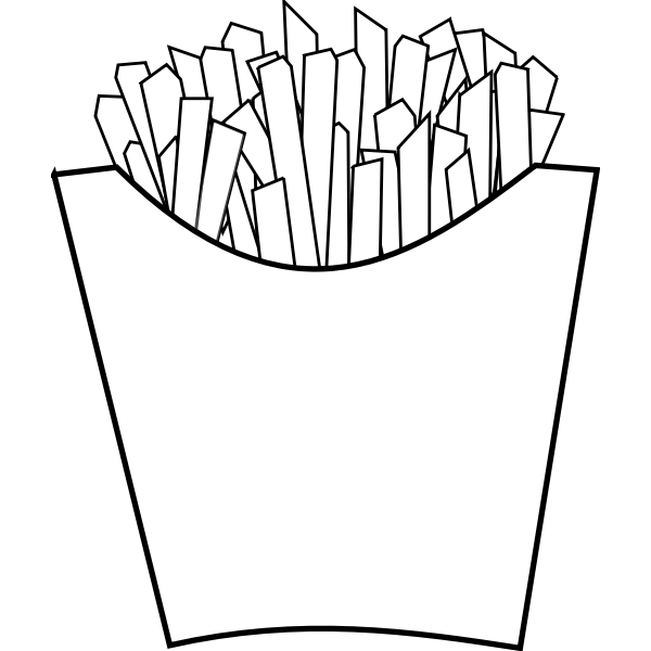 French fries line art vector graphics