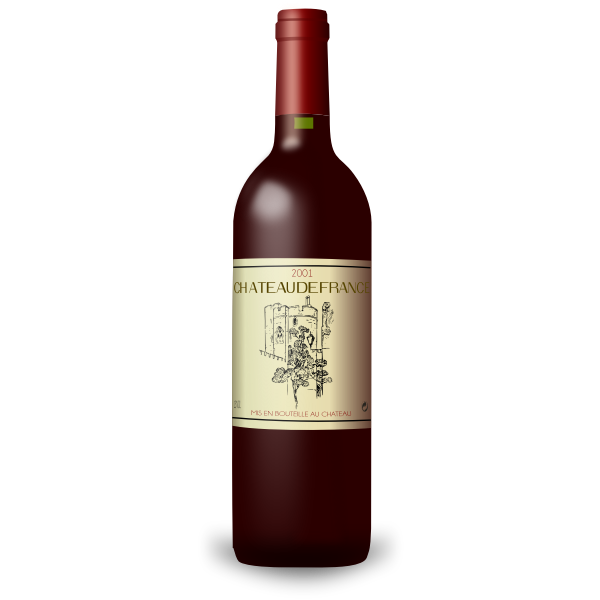 Bordeaux red wine bottle vector drawing