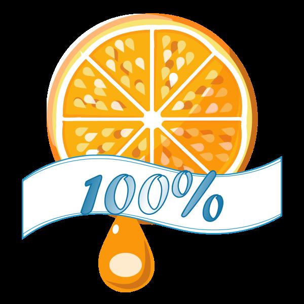 100% orange vector label