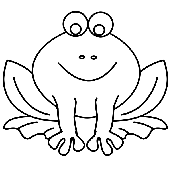 Vector graphics of sitting frog line art