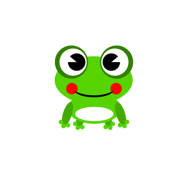 Vector drawing of bright green happy frog