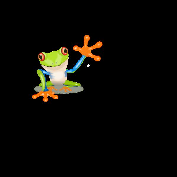 Frog waving hand