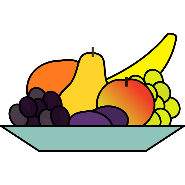 Vector graphics of plate of fruits drawing