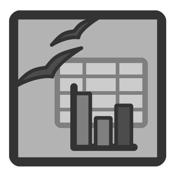 Vector clip art of gray computer spreadsheet document icon