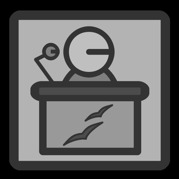 Vector image of gray PC presentation file type icon