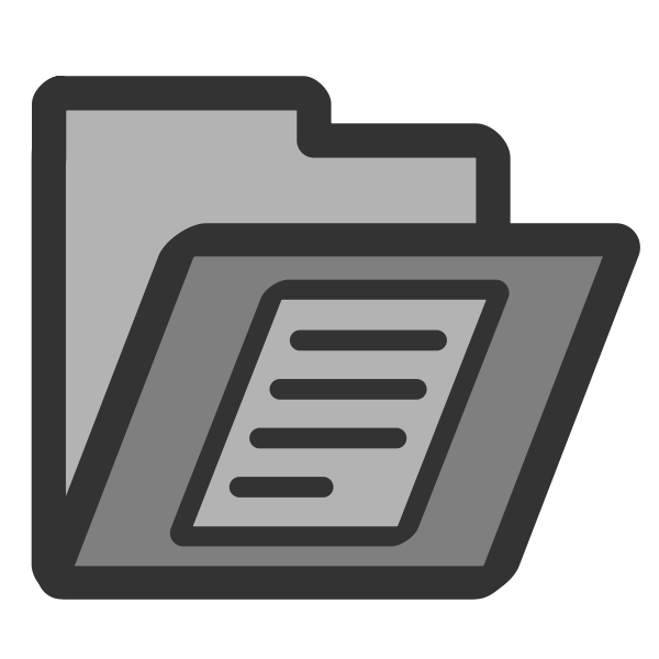 Vector drawing of gray PC writing document folder icon