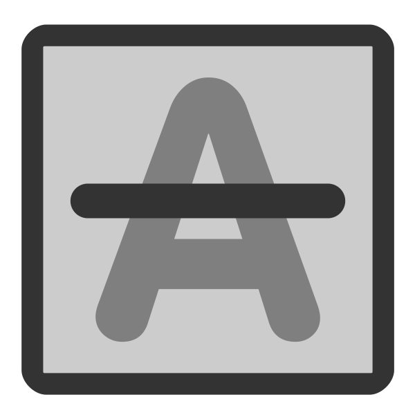 Letter A with strike through vector image