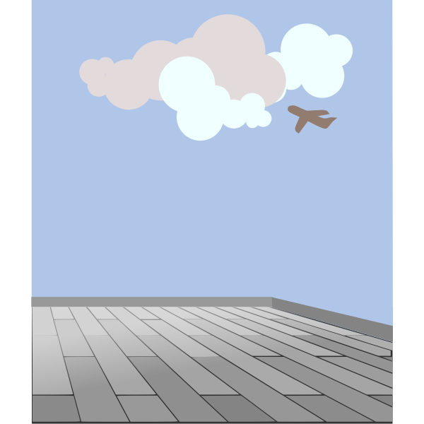 Vector graphics of plane spotting from a rooftop