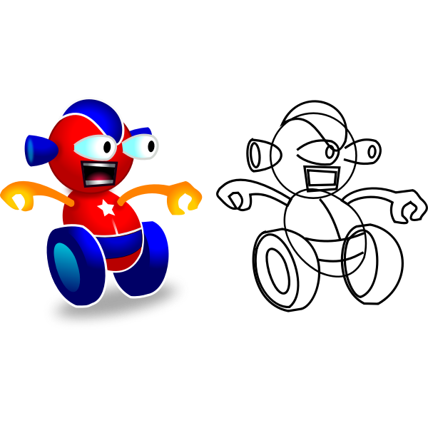 Vector image of wheeled robot game character