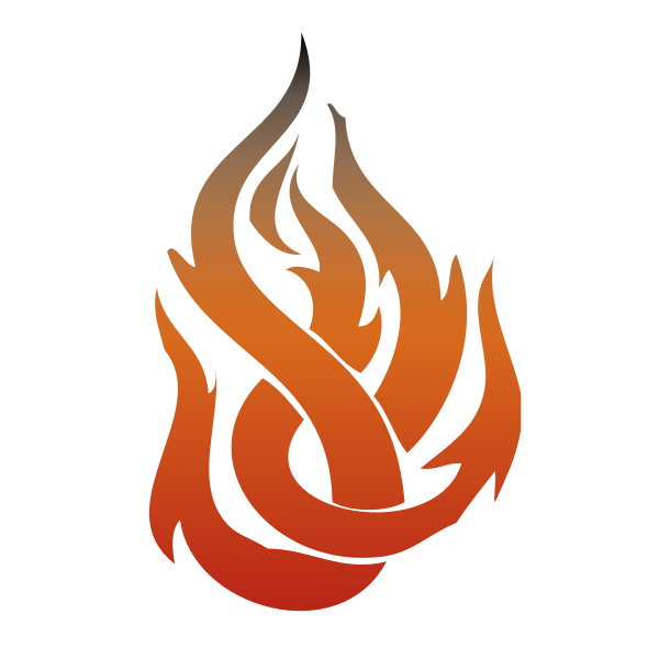 Vector clip art of fire flame in orange color