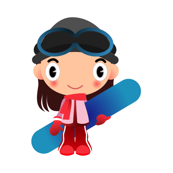 Girl snowboarder cartoon
