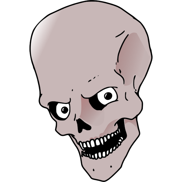 High forehead skull vector drawing