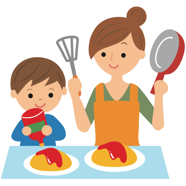 Cooking with mother
