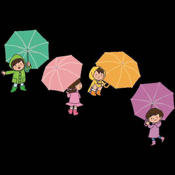 Children with umbrellas image