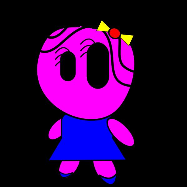 Pink cartoon girl vector image