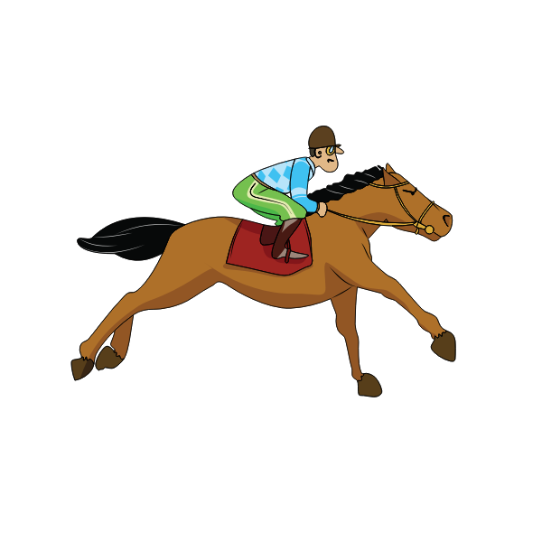 Vector graphics of horse rider on a race