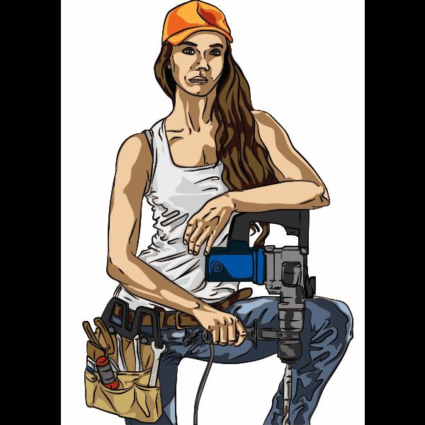 Machine worker vector illustration