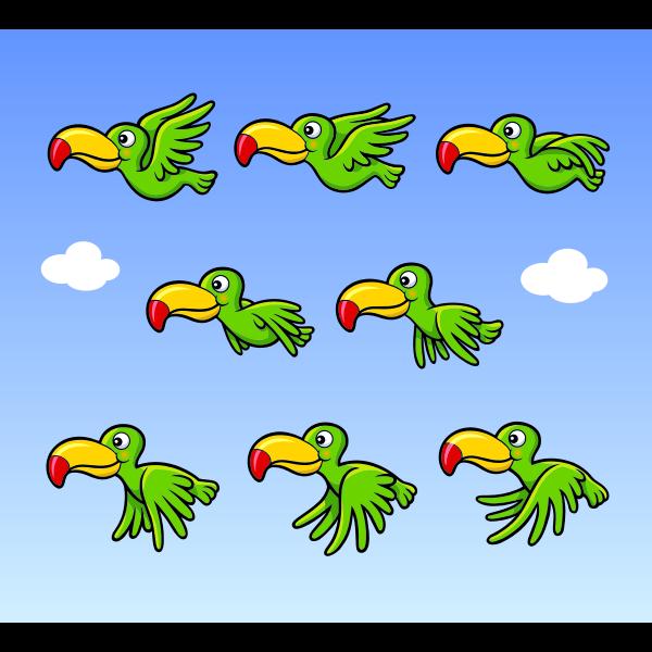 Flying cartoon bird animation