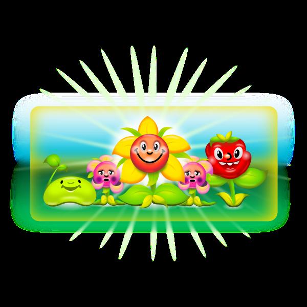 Vector graphics of happy flowers cartoon drawing,