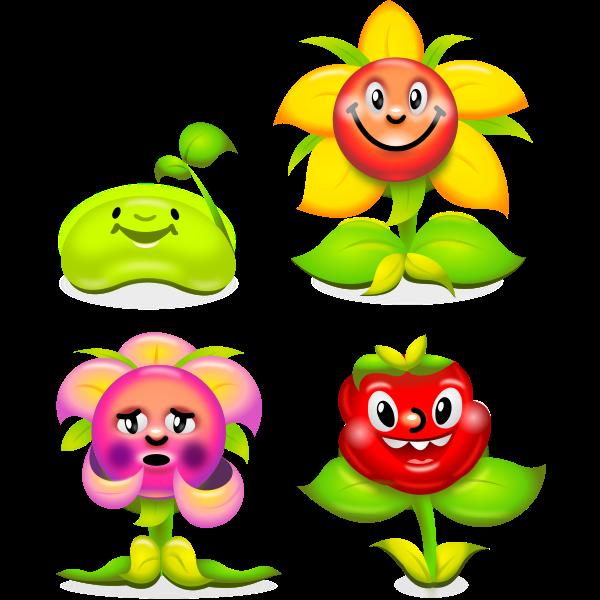 Vector clip art of set of happy flowers
