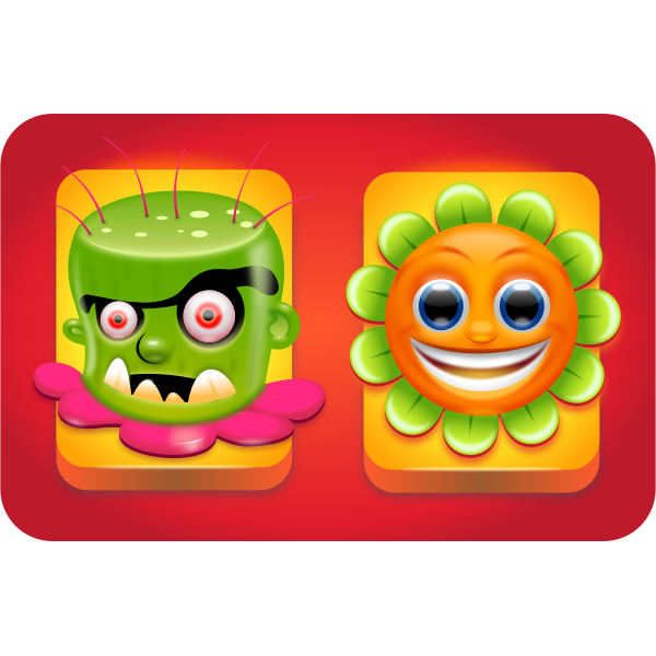 Vector graphics of flower game characters