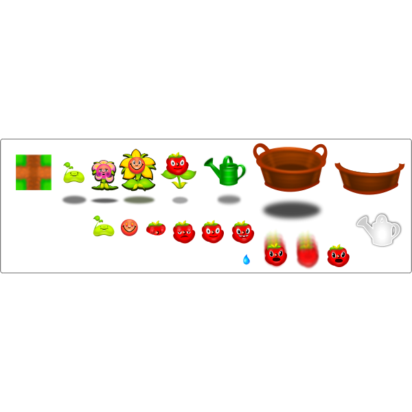 Icon set for computer game vector drawing