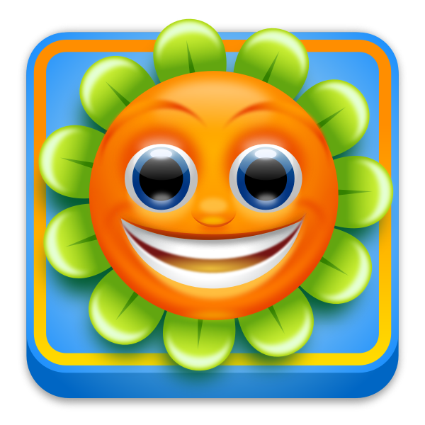 Happy sunflower app icon vector drawing