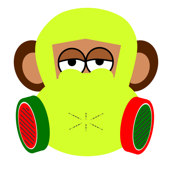 Monkey with gas mask