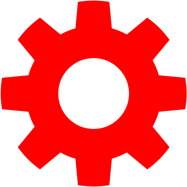 Red gear icon