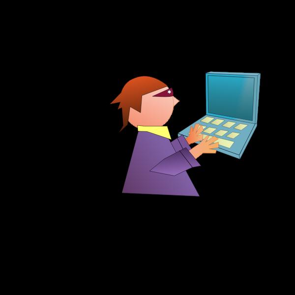 Computer geek comic vector image