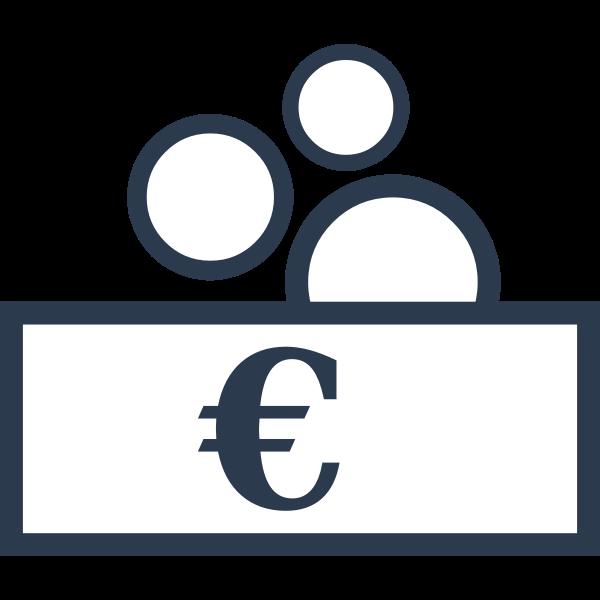 Vector drawing of money exchange sign
