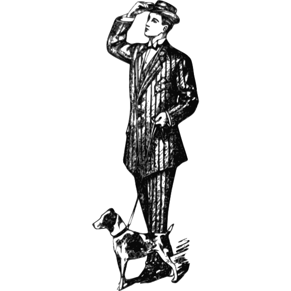 Gentleman and his dog vector illustration