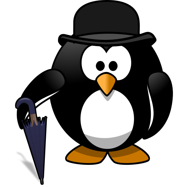 Gentleman penguin with umbrella vector graphics