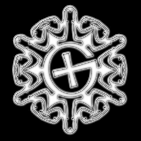 Shaded geocaching snowflake motif vector image