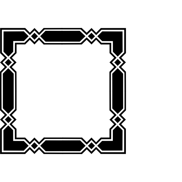 Vector image of geometric black and white box border