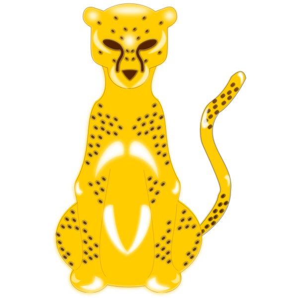 Vector image of drawn yellow leopard