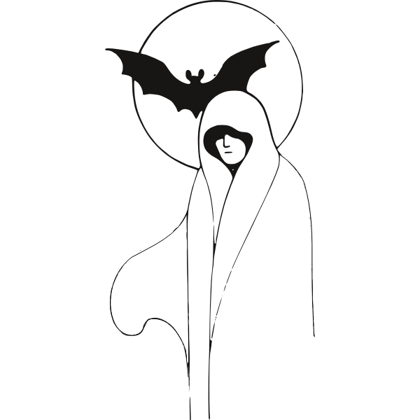 Vector image of ghost lady with bat in the back