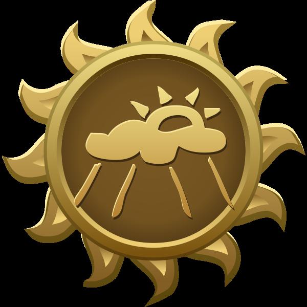 Vector illustration of rainy day sun shaped emblem