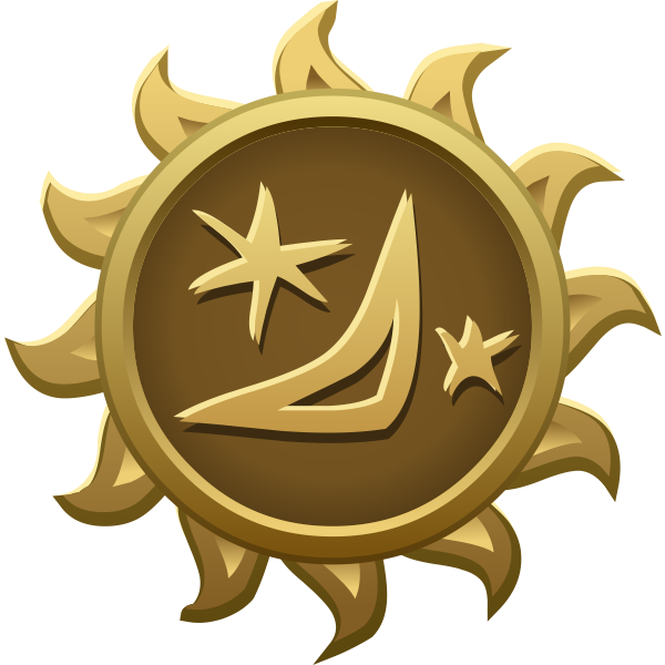 Vector image of friendly moon and stars sun shaped emblem