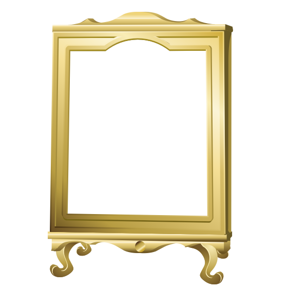 Vector graphics of freestanding mirror with wooden frame