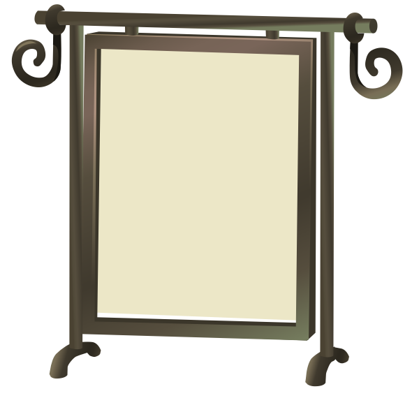 Self-standing mirror with brown frame vector clip art