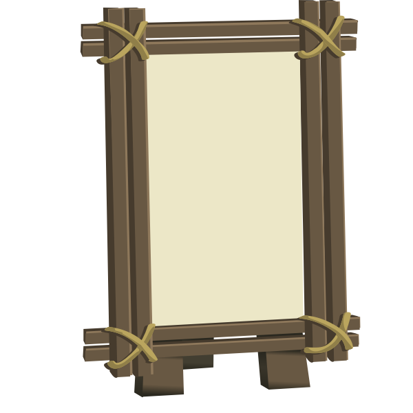 Vector graphics of wood framed mirror