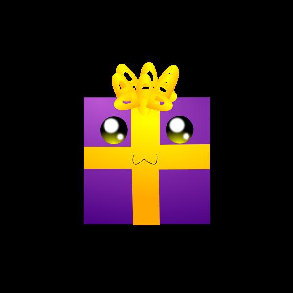 Humanoid purple gift box vector clip art