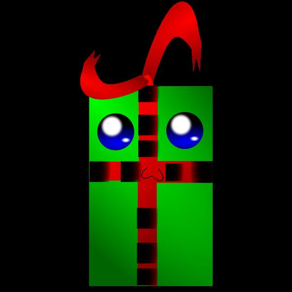 Vector drawing of human face like green gift box